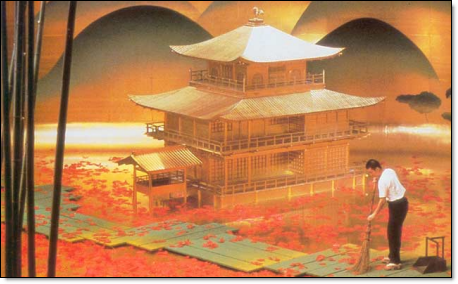 The golden pavilion set