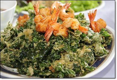 Tam leung - shrimp and fried coccinia leaves