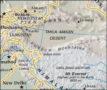 Takla Makan desert map