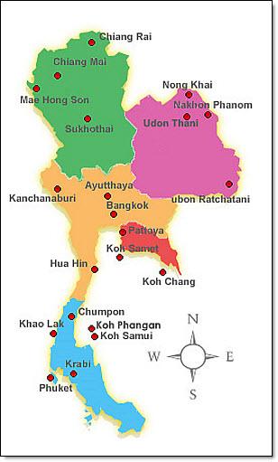Thai regions map